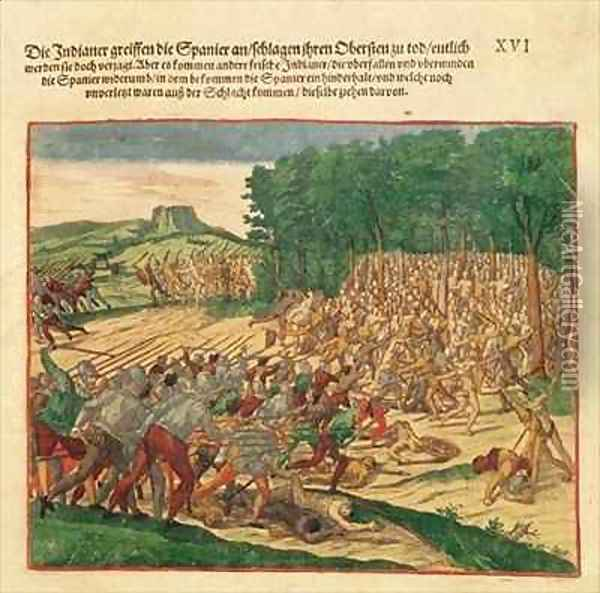Battle between the Indians and the Spanish in which the Spanish colonel was beaten to death Oil Painting - Theodore de Bry