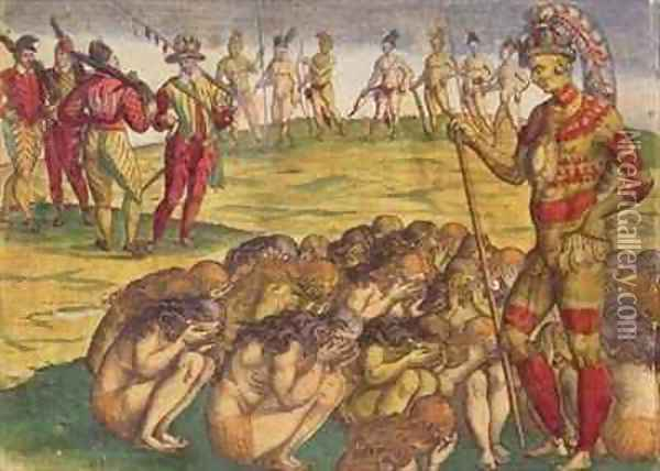 Capture of the Aztecs by the Spanish Colonists Oil Painting - Theodore de Bry