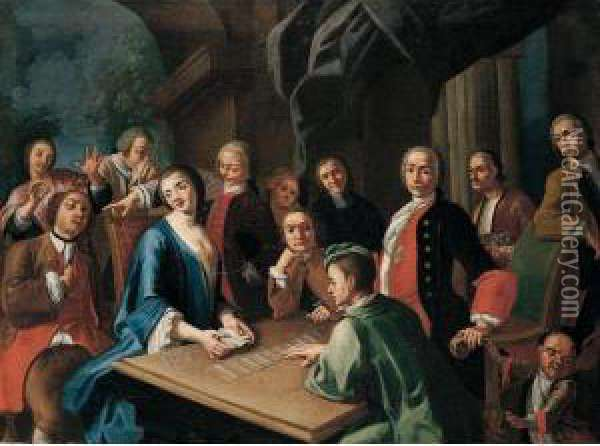 Elegant Figures Playing Cards At A Table Oil Painting - Giuseppe Bonito