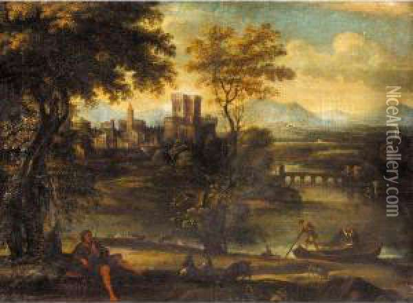 A Classical Landscape With A Shepherd And Fisherman, A Town Beyond Oil Painting - Pietro Paolo Bonzi