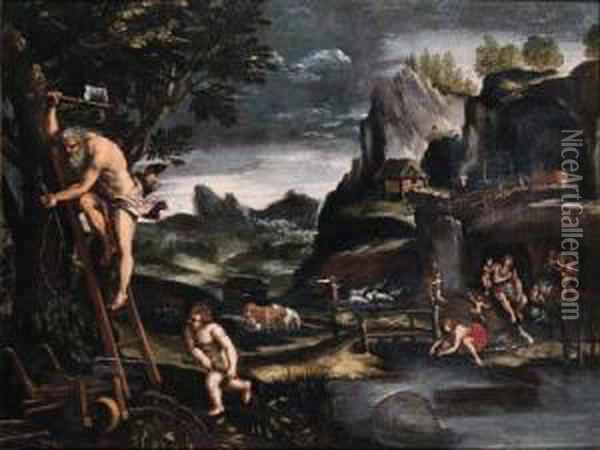 Adam And Eve After The Fall Oil Painting - Pietro Paolo Bonzi