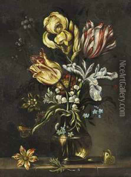 Tulipes Dans Un Vase De Verre. Oil Painting - Ambrosius the Elder Bosschaert
