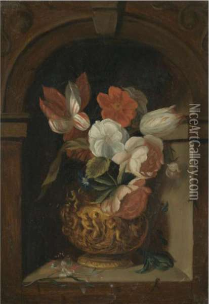 A Still Life Of Tulips, Roses, 