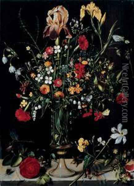 A Still Life Of Flowers In A Vase Oil Painting - Ambrosius the Elder Bosschaert