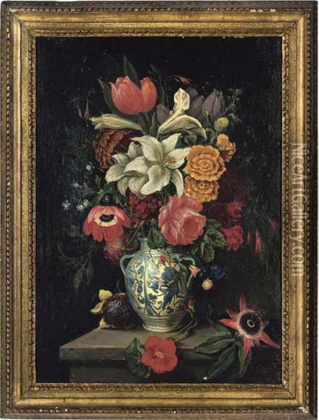 Lilies, Roses, Passionflower, Sunflower, Tulips And Other Flowers In A Vase, On A Ledge Oil Painting - Ambrosius the Elder Bosschaert