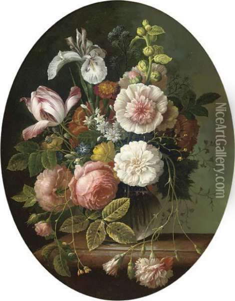 Pink Roses Oil Painting - Ambrosius the Elder Bosschaert