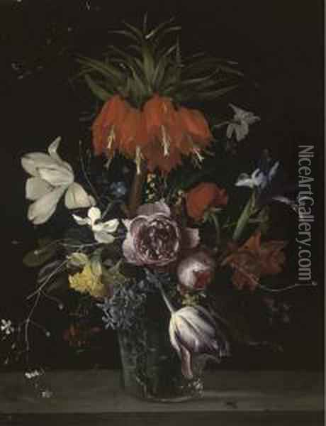 A Crown Imperial Lily, Tulips,  Roses, Hyacinths And Other Flowersin A Glass Vase On A Stone Ledge Oil Painting - Ambrosius the Elder Bosschaert