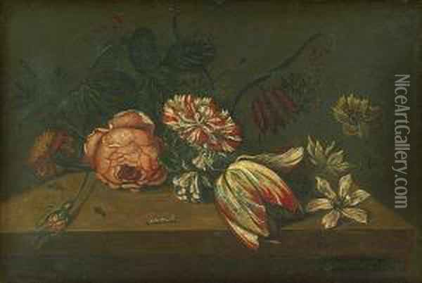 A Still Life With Flowers And Insects On A Ledge Oil Painting - Ambrosius the Elder Bosschaert