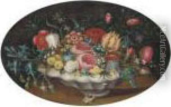Tulips, Roses, Morning Glory And Other Flowers In A Bowl On Atable Oil Painting - Ambrosius the Elder Bosschaert
