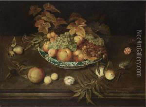 A Still Life With Grapes,  Peaches, Apricots And Apples In A Wan-li Porcelain Bowl, Together With A  Pear, A Prune, Peaches, Apricots, Carnations, A Butterfly And A Blue  Tit, All On A Ledge Oil Painting - Ambrosius the Elder Bosschaert