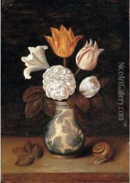 A Still Life Of Roses, A Lily 