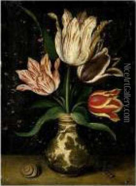 A Still Life Of Tulips In A Wan-li Porcelain Vase Oil Painting - Ambrosius the Elder Bosschaert