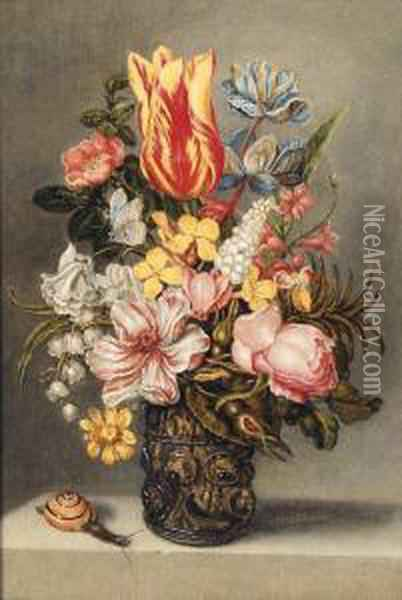 Parrot Tulips, A Dog Rose, A  Peonie, Buttercups And Lily Of Thevalley In A Roemer On A Stone Ledge  With A Butterfly And Asnail Oil Painting - Ambrosius the Elder Bosschaert