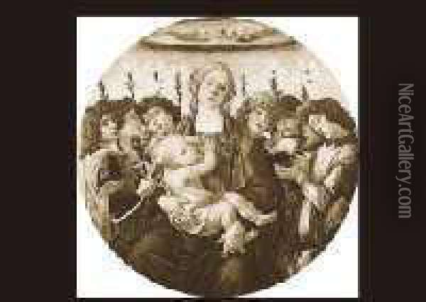 Holy Mother And Child And Eight Angels Oil Painting - Sandro Botticelli