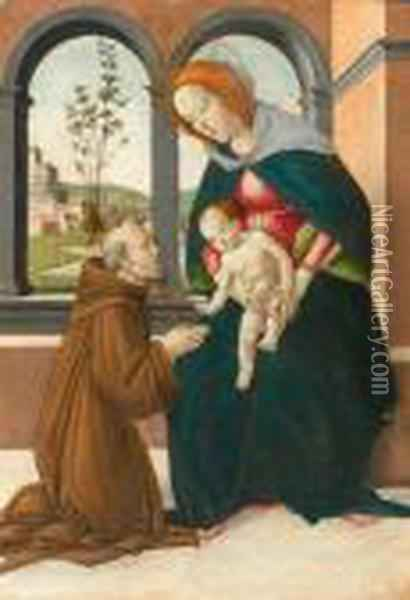 Madonna And Child With Saint Giovanni Gualberto Oil Painting - Sandro Botticelli