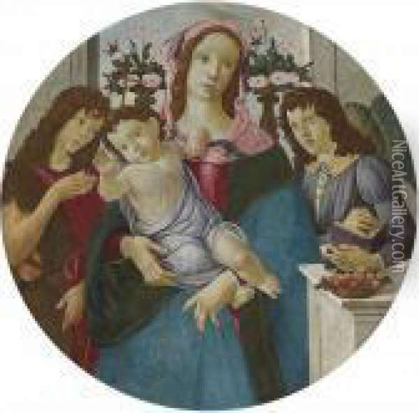 The Madonna And Child With Two Angels Oil Painting - Sandro Botticelli
