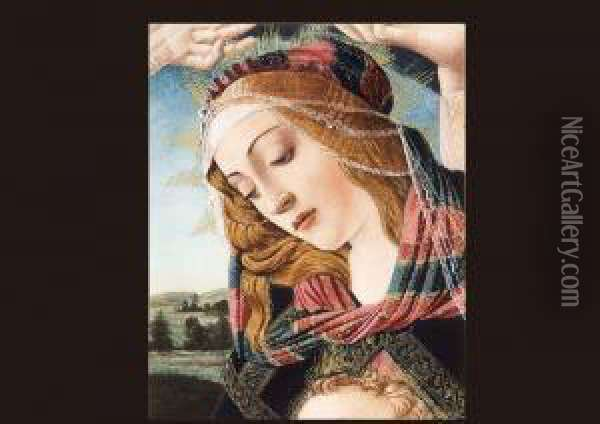 Themadonna Of The Magnificat. Oil Painting - Sandro Botticelli