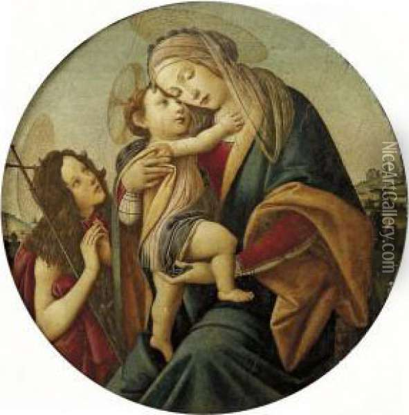 The Madonna And Child With The Young Saint John The Baptist Oil Painting - Sandro Botticelli