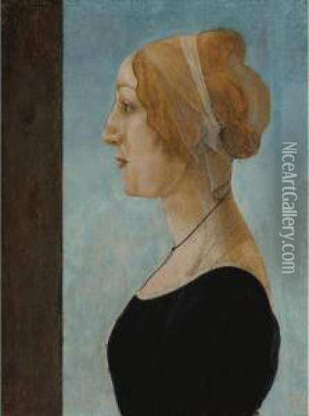 Profile Portrait Of A Woman Oil Painting - Sandro Botticelli