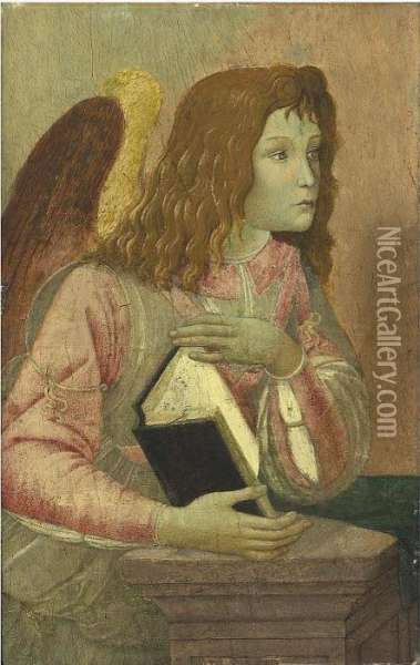 Angel Holding An Open Codex: A Fragment Oil Painting - Sandro Botticelli