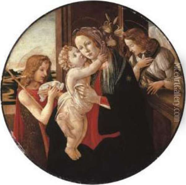 The Madonna And Child With The Young Saint John The Baptist And The Archangel Gabriel Oil Painting - Sandro Botticelli