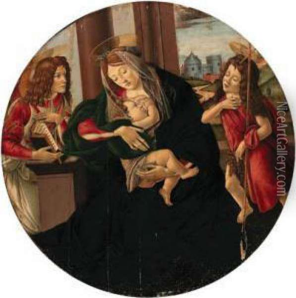 The Madonna And Child Enthroned With An Angel And The Infant Saintjohn The Baptist Oil Painting - Sandro Botticelli