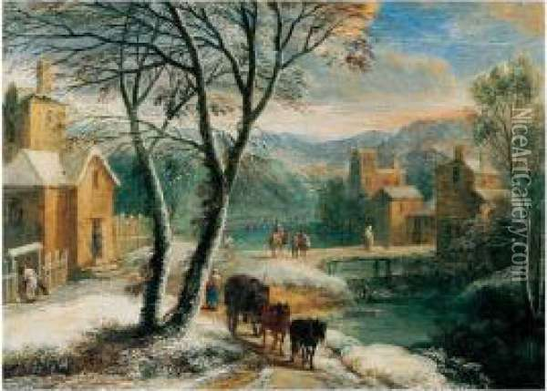 A Winter Landscape With Travellers And Waggoners Beside A River Oil Painting - Adriaen Frans Boudewijns