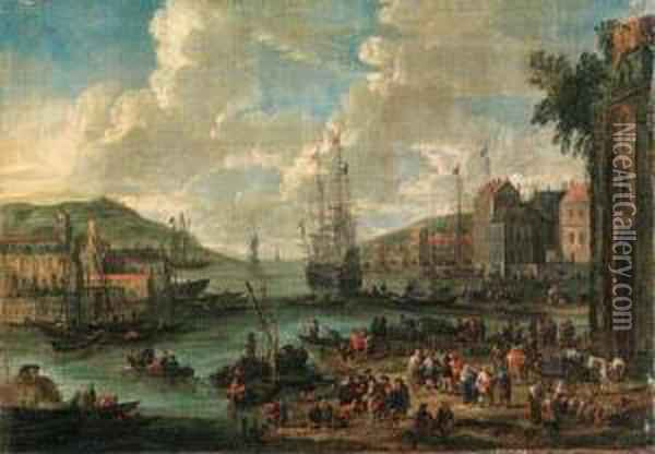 A Port, With Men-o-war And Other Shipping, Townsfolk And Fishermenon The Shore Oil Painting - Adriaen Frans Boudewijns