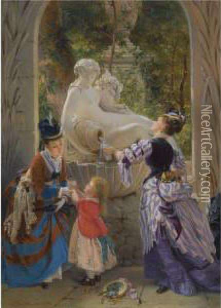 A La Fontaine Oil Painting - Charles Edouard Boutibonne
