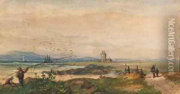 Green Point Lighthouse Oil Painting - Thomas William Bowler