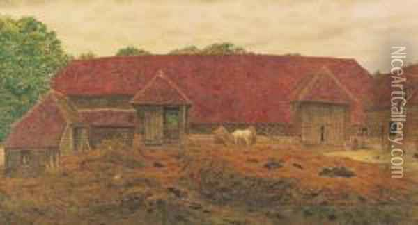 The Old Barn At Whitchurch Oil Painting - George Price Boyce