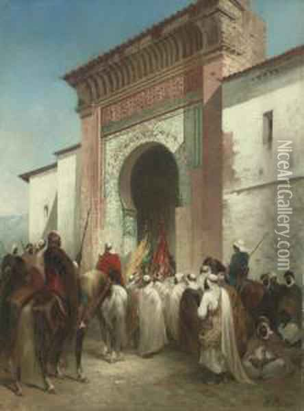 Royal Procession At The Gateway Oil Painting - Honore Boze