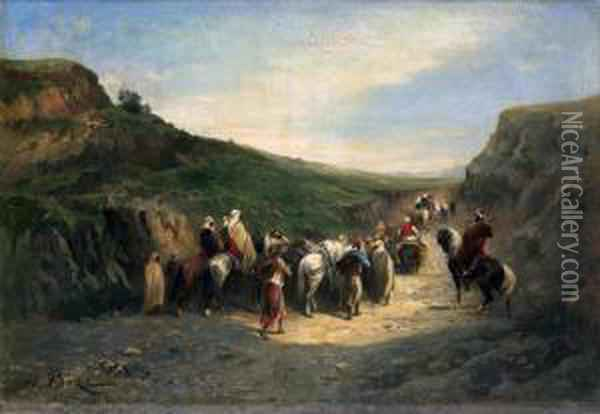 Caravane De Bedouins Oil Painting - Honore Boze