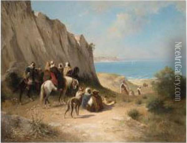Cavalry By The Sea Oil Painting - Honore Boze