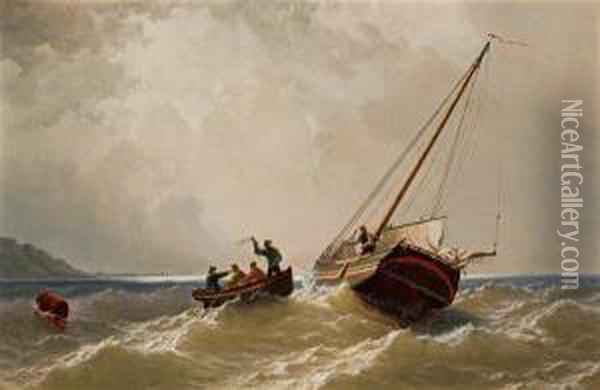 Tow Boat And Sloop Oil Painting - William Bradford