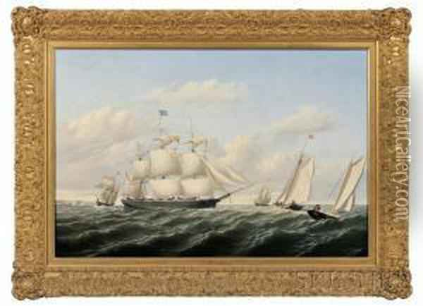 The Whaleship  Speedwell Of Fairhaven Outward Bound Off Gay Head  1853. Oil Painting - William Bradford