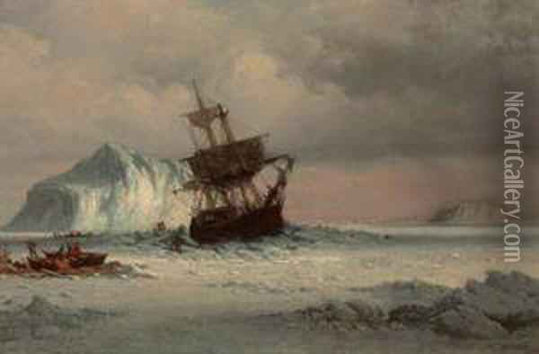 Caught In The Ice Floes Oil Painting - William Bradford