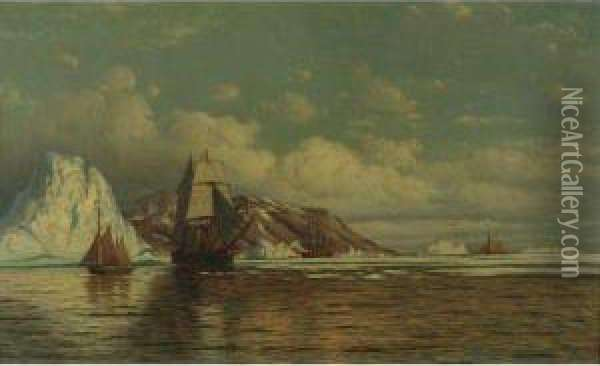 Sailing Ships Off The Coast With Icebergs Oil Painting - William Bradford