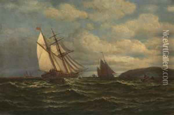 Fishing Boats Off A Northern Headland Oil Painting - William Bradford