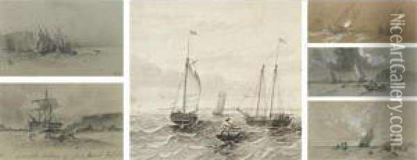 Sailboats At Sea: A Set Of Six Drawings Oil Painting - William Bradford
