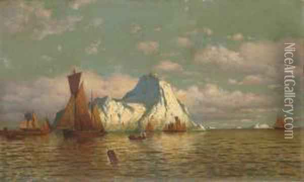 Sunset Glow On Sea And Land Oil Painting - William Bradford