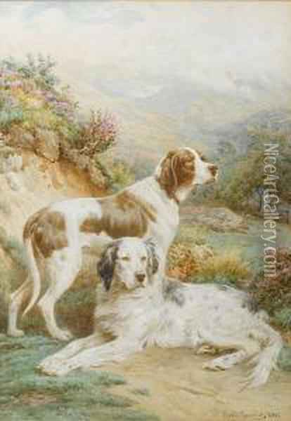 An English Setter And A Pointer In Alandscape Oil Painting - Basil Bradley