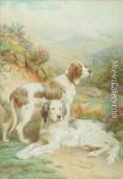 Two Setters In A Landscape Oil Painting - Basil Bradley