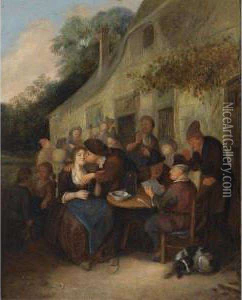 Peasants Gathered Outside A  Tavern With A Man Reading A Paper, An Amorous Couple, And A Fiddler In  The Background Oil Painting - Richard Brakenburgh
