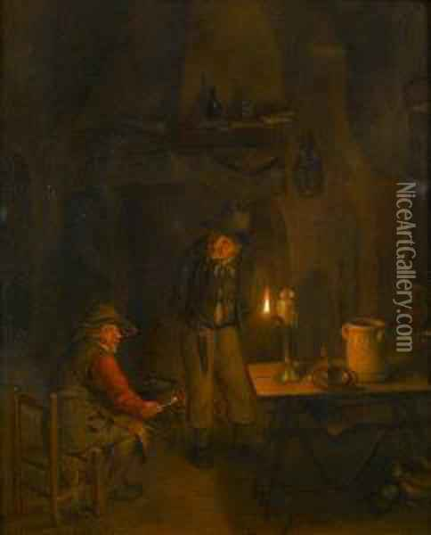 Topers In A Candlelit Interior Oil Painting - Richard Brakenburgh