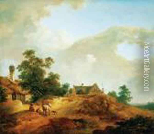Landscape With Resting Figure, Late 1750s Oil Painting - Johann Christian Brand