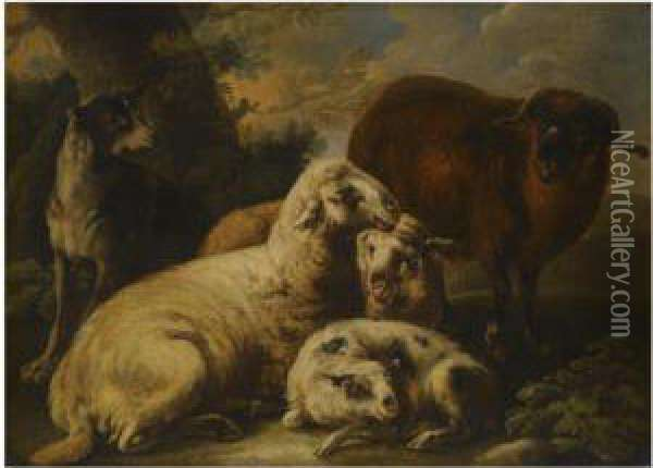 A Landscape With A Sheep Dog Guarding His Flock Oil Painting - Domenico Brandi