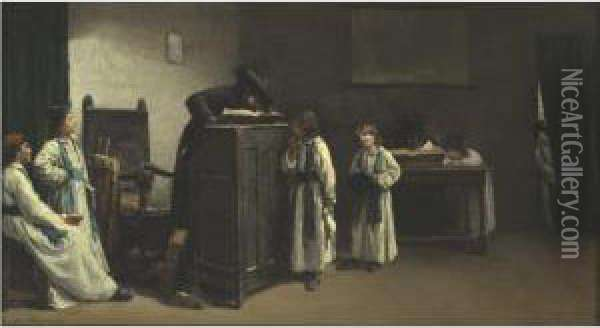 Rabbinical Students In A Classroom Oil Painting - Edouard J. Emile Brandon