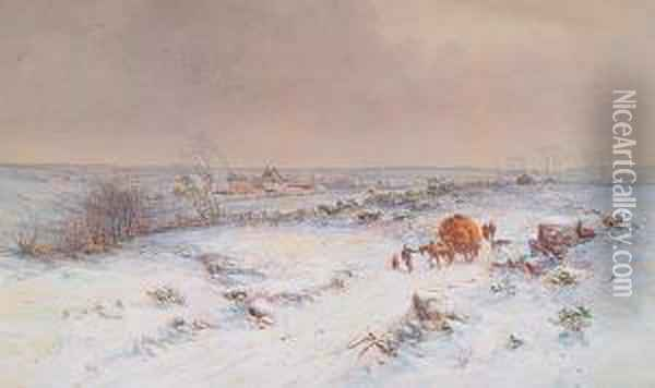 A Shropshire Landscape In Winter Oil Painting - Charles Branwhite