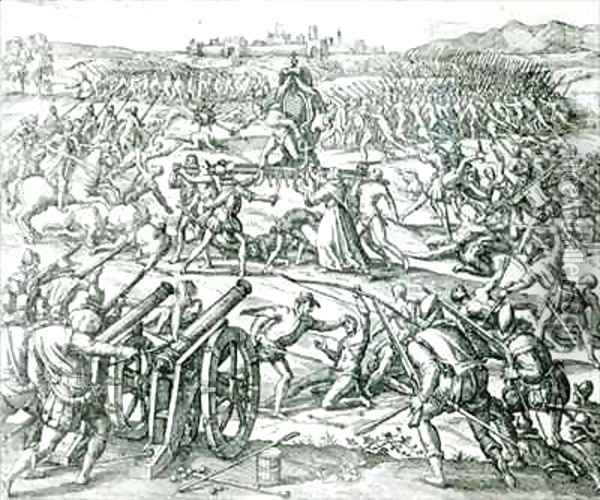 The Battle of Cajamarca Oil Painting - Theodore de Bry